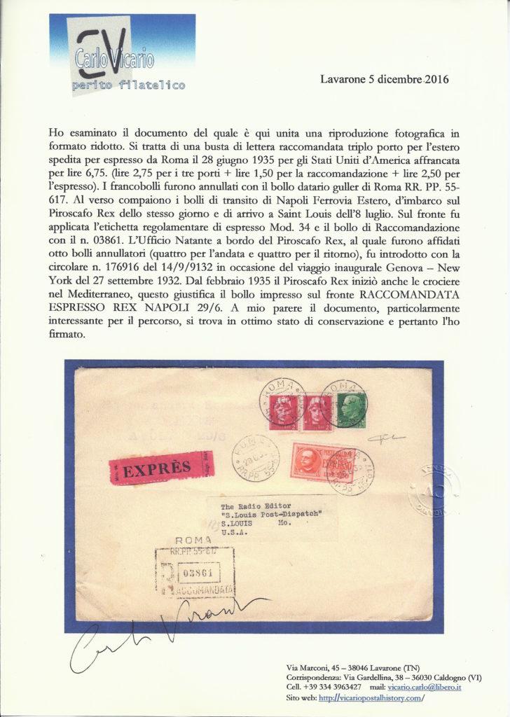 Certificato fotografico peritale con firma Carlo Vicario